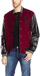 Men's Moleskin Leather Varsity Collegiate Jacket Bordeaux