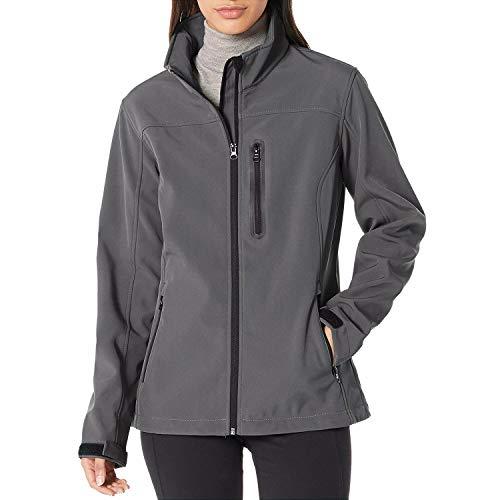 """7GOALS Softshell Jacket Women Outdoor Waterproof Windproof Fleece Lined Winter Coat,Grey,L(Chest:42.9"""")"""