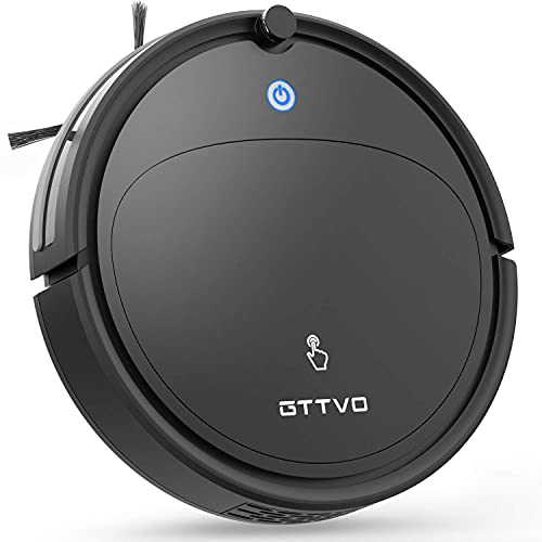 GTTVO Robot Vacuum Cleaner, Auto Robotic Vacuums, Voice Broadcast Function, Self-Charging, Super Quiet Mini Cleaning Robot for Pet Hair, Hard Floor, Low Pile Carpets… (1)