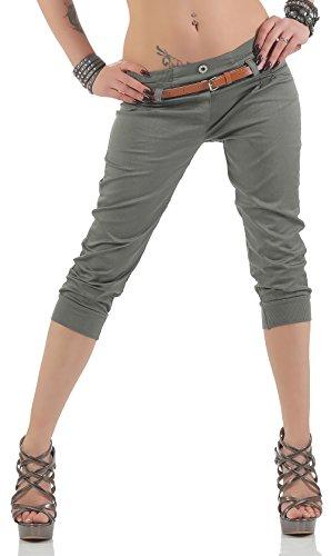 Malito Damen Capri Hose mit Gürtel | Chino Hose mit Stretch | lässige Stoffhose | Skinny - elegant 5398 (Oliv, M)