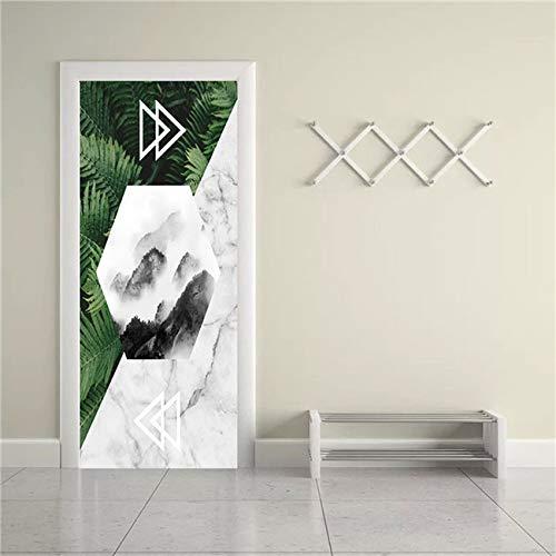 DFKJ Divertido 3D Pegatina de Puerta Cartel Abstracto Pegatina de Papel Tapiz PVC Autoadhesivo extraíble decoración de la habitación calcomanía de Puerta A5 86x200cm