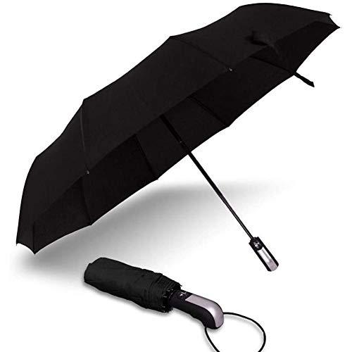 GLX Plegable Paraguas Paraguas De Bolsillo 10K Automática Cortavientos para Los Hombres Y Las Mujeres Se Extiende La Zona De Negocios con El Paraguas Multicolor Bolsillo Opcional En Negro,Negro