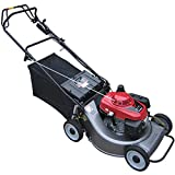 Kiyte Push Lawn Sweeper with Collection Bag, Gasoline Lawn Mower with 3 Mowing Heights, Multi-Function String Trimmer Brushcutter Weed Wacker,Gray