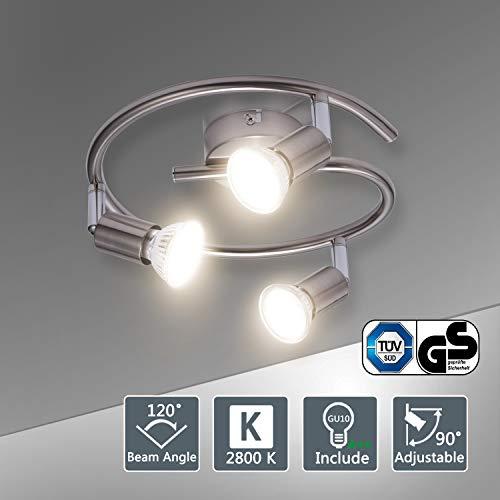 Lampadario da Soffitto, Bojim Plafoniera con 3 Faretti Orientabili LED GU10 Bianco Caldo 6W Pari a 54W 600LM 220V 2800K, Lampada della Forma a Spirale, Sistemi di Faretti per Camera Salotto Soggiorno