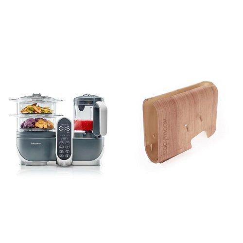 Babymoov Nutribaby (+) industrial grey - Multifunktions Küchenmachine + Babymoov Displaygehäuse Nutribaby (+) Holz-Effekt
