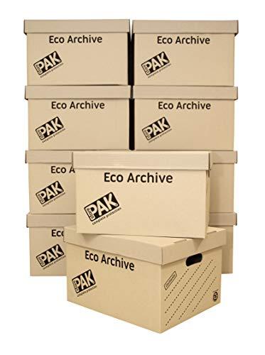 StorePAK Eco Archief/Opslag Kartonnen dozen & Deksels Pack van 10. Plat verpakt en eenvoudig te monteren. Goed voor Thuisopslag, Kantoor & Verhuizing. Archiefdoos BRON
