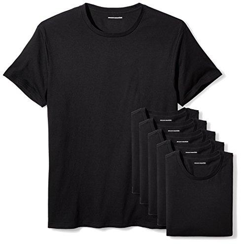 Amazon Essentials 6-Pack Crewneck Undershirts Camicia, Nero (Black), Large