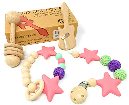 TamyBly Natural Wood & Silicone Pacifier Clip Teether,Teething Bracelet, Wooden Teethers, Wood Teething Rings,Updated Assembled Wood Teething Rattle|5pcs Baby Teether Toy Set|BPA Free|Sunshine Blossom