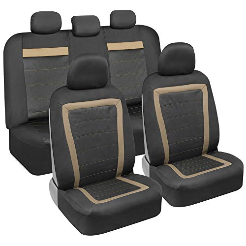 carXS FreshMesh Car Seat Covers Full Set with Beige Accent – Front and Back Seat Covers for Cars, Modern Sideless Design, Universal Fit Automotive Seat Covers Truck Van SUV