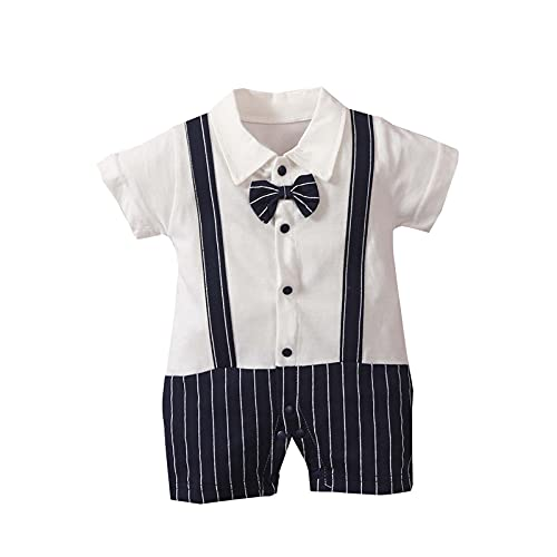 reakoo Toddler Baby Girl Boy Outfits Set Gentleman's Bow Tie Lapel Stitching Jumpsuit Short Sleeve Jumpsuit Suit