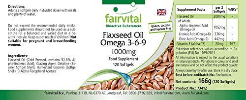 Flachsöl Leinöl Omega-3-6-9, kaltgepresst, reich an Alpha-Linolensäure, 120 Softgels - 3