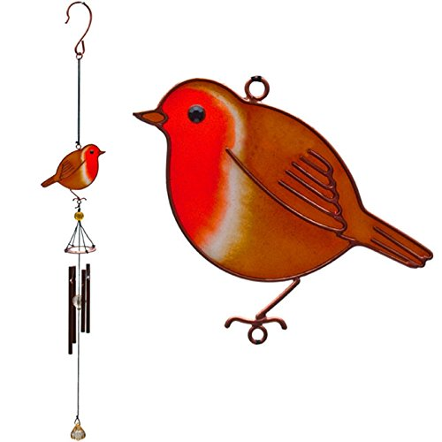 Jones home & gift Ein wunderschöner Windspiel handgefertigt Metall, Glas & Harz in einem Robin Design.