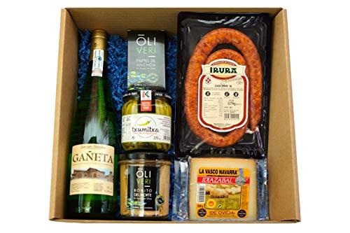 Lote Regalo Gourmet de Productos Vascos Premium - Basque Deli - 6 Productos (Txakoli, Txistorra, Queso Ahumado Idiazabal, Bonito del Norte, Anchoas del Cantábrico y Guindillas de Ibarra)