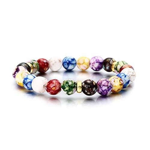 MOONQING Pulsera elástica unisex de cuentas coloridas para yoga, piedras naturales
