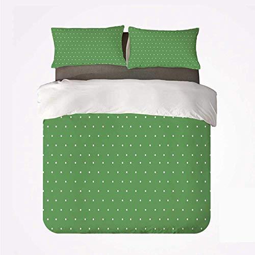 Popun Bettbezug-Set Grün Bequemes 3-Bett-Set, 50er Jahre 60er Jahre Stil Retro Vintage inspiriert einfaches Dekor mit kleinen Tupfen Bild dekorativ für Hotel