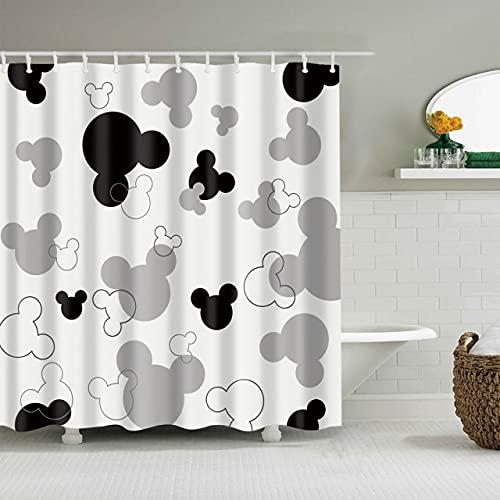 AFDSJJDK duschvorhangstange ohne Bohren Neue Cartoon-Maus-Muster wasserdicht 3D-Duschvorhang niedliche Tiere Duschvorhang mit Haken für Badezimmerdekoration Geschenke 180x180cm