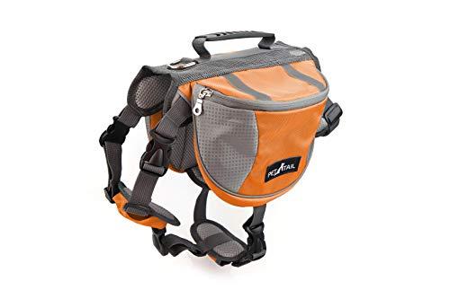PETTAIL Hound Dog Saddlebags Hiking Gear Equipment Backpack Lightweight for Tactical Training, Travel (Medium, Orange)