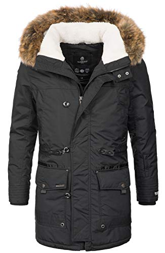 Marikoo Herren Winterjacke Kapuze Kunstfell Winter Jacke Parka warm lang B629 [B629-Ansaya-Schwarz-Gr.3XL]
