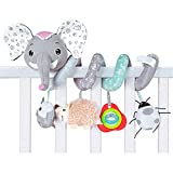 Baby car seat toy hanging bed toy crib cradle plush toy, comes with music box bedside bell pink gray elephant doll