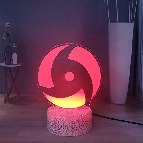 Laysinly Japanese Anime Naruto 3D Night Light, Uchiha Itachi and Sasuke Sharingan LED Desk Lamp, USB Remote Boys Bedroom Night Lamp Decor, Best Naruto Fans Gift, Kids Birthday Present