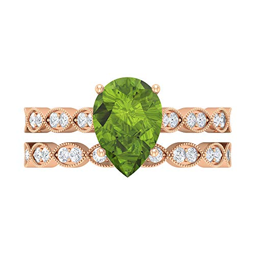 2.51 CT Peridot Solitaire Ring, D-VSSI Moissanite Bridal Ring Set, 7X10 MM Pear Shaped Engagement Ring, Gold Side Stone Ring, 18K Rose Gold, Size:UK X