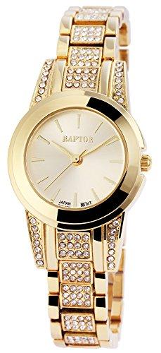 Raptor Damen - Uhr Metall Armbanduhr Strasssteine Analog Quarz RA10144