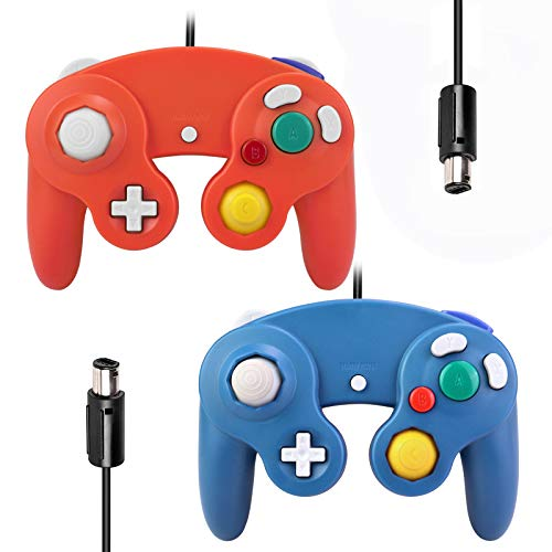Gamecube Controllers,GALGO Classic Gamecube wii Controller for Nintendo Gamecube Console, Compatible with Wii (Red and Blue)