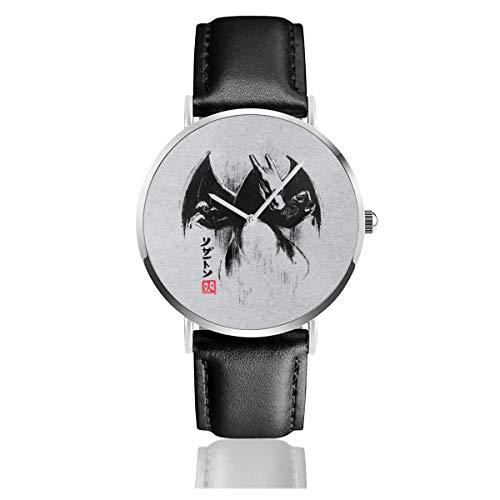 Unisex Business Casual Monster of The Pocket Charizard Ink Watches Quarz-Leder-Armbanduhr mit schwarzem Lederband für Männer und Frauen Junge Kollektion Geschenk