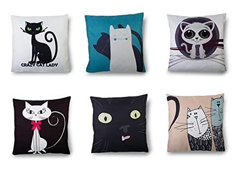 Zagon Fundas de cojin 45 x 45 - Pack 6 Fundas Almohada Algodon Poliester con Cremallera Invisible - Decoracion Salon Gatos (Gatos)