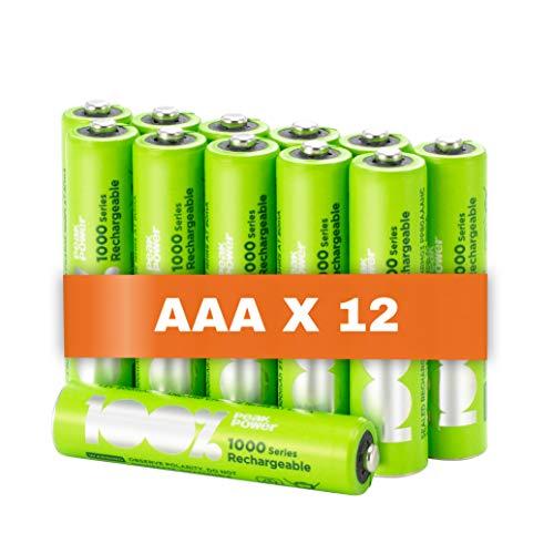 100% PeakPower 12 x Pilas Recargables AAA 1000 Series | Capacidad mínima Garantizada 800 mAh NiMH | Pilas AA Recargables Que Vienen precargadas Listas para Usar | Bajo Nivel de autodescarga