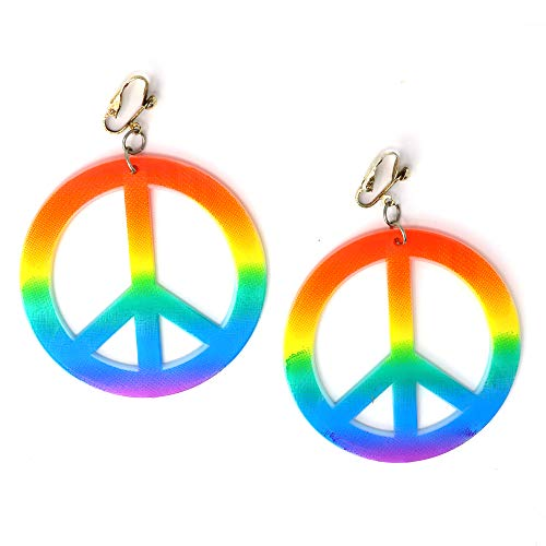 Skeleteen Hippie Style Peace Earrings - 1960's Hipster Fashion Peace Ear Rings - 1 Pair