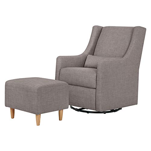 Babyletto Toco Upholstered Swivel Glider and Stationary Ottoman in Grey Tweed, Greenguard Gold Certified