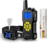 Havenfly Collar Adiestramiento Perros sin Descarga Eléctrica, Collar Electrico Perro con Spray de Citronela, Vibración y Sonido, Rango Remoto de 500 Metros, Impermeable y Recargable