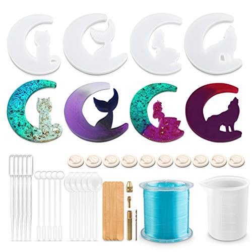Richoose 38PCS DIY Crescents Moon Resin Mold Includes 4PCS Silicone Casting Molds with Moon Wolf, Moon Cat, Moon Fairy, Moon Mermaid Tail and 34PCS Tools for Epoxy Resin Crafts
