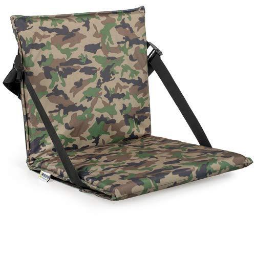 Hockdi portabler Outdoor Stuhl - Faltbarer Sitz mit Rückenlehne und ausklappbarer Beinauflage für Strand, Bierbank, Camping, Jagd und Picknick, stufenlos einstellbar (Camouflage)