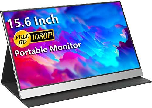 USB-C Tragbarer Monitor – 15,6 Zoll FHD HDR FreeSync Zero Frame USB-C Computer Bildschirm mit Dual Type-C Mini HDMI für Laptop PC Handy Mac Surface Xbox PS5 Switch, mit Abdeckung VESA montierbar