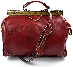 Ladies leather handbag doctor bag handheld shoulder bag medical purse red made in Italy