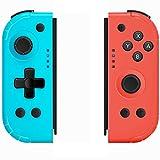 YIKUI Mando inalámbrico Joy Con (L/R) para Nintendo Switch, Turbo ajustable, compatible con eje giroscópico y funciones de doble vibración compatible con Nintendo Switch/Switch Lite (azul y rojo)