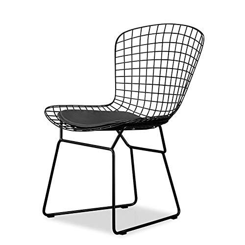 Faucet houlian shop Chair Nordic opengewerkte ijzeren stoel Vintage koper rose metalen stoel Industriële wind buiten zwart ijzer eetkamerstoel Zwart