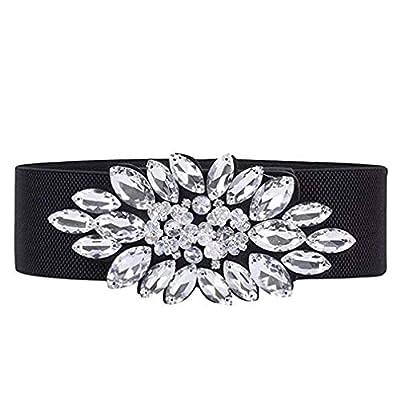 E-Clover Fashion Floral Rhinestone Buckle Women's Elastic Waist Cinch Belt for Dress for Size 0-10 (White Rhinetsone)