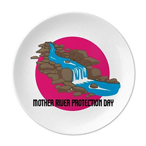 Piatto decorativo in porcellana per anniversario commemorativo, con scritta 'Mother River Protect', per cena