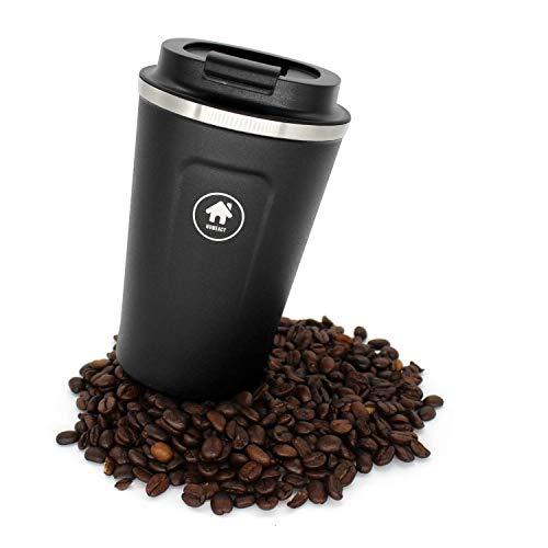 homeAct Thermobecher Kaffeebecher für unterwegs Coffee to go 380ml   100% auslaufsicher aus Edelstahl mit Doppelwand Isolierung   BPA freier Travel Mug für Kaffee oder Tee (Schwarz)