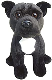 "Faithful Friends Staffordshire Bull Terrier (Black) Soft Toy 12""- Plush Collectible Dog Stuffed Animal"