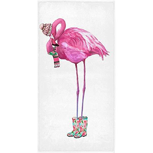 EXking Roze Glamour fla-mingo met Sjaal bad Handdoeken Winter Dieren Badkamer Handdoek Ultra Zachte Zeer absorberende Kerstmis Badkamer Keuken