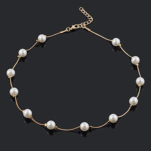 Zinniaya Popular Hermoso simulado 12 Perlas Perlas Exquisito Buen Regalo Collar Moda Gargantilla Collares para Mujeres