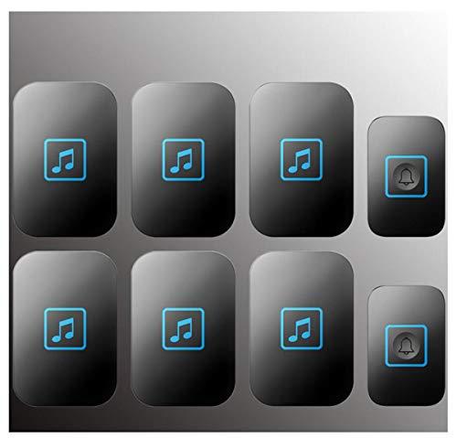 BYCDD Waterdichte draadloze deurbel, draadloze deurbelset, werkt met 60 melodieën, 5 volumeniveaus en led-flitslicht met 6 plug-in ontvangers bij 1000 voet zwart