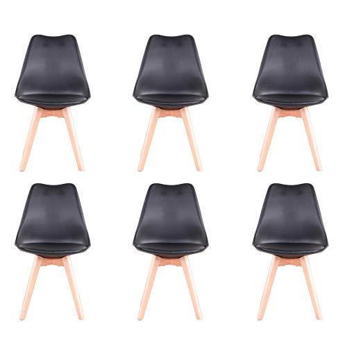BenyLed - Juego de 6 sillas de comedor de tulipán con asiento tapizado y patas de madera de haya, ideal para comedor, cocina, salón, dormitorio, color negro