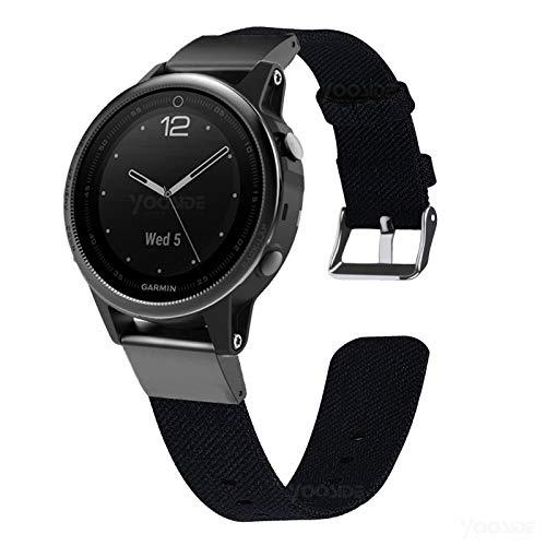 YOOSIDE Fenix 6S/Fenix 5S Nylon Armband, Edelstahl QuickFit+Gewebtes Nylon Ersatzarmband Uhrenarmband für Garmin Fenix 5S Plus/Fenix 6S Pro Sapphire,Schwarz