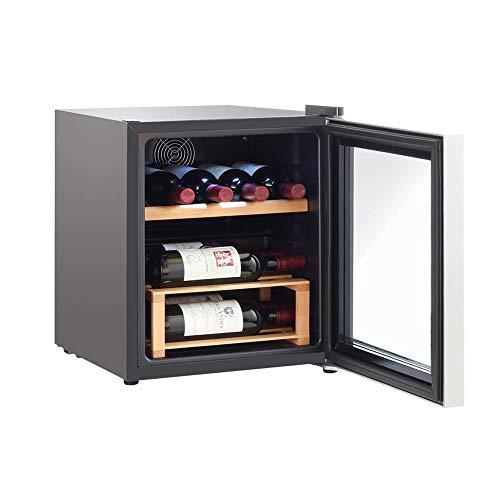 Lnspirational Gifts Decor Zubehör 42L Freistehender Undercounter Weinkühler in schwarzer Ausführung mit geringem Geräuschpegel und doppelt verglaster Tür 5-18℃Edelstahlkante Weinregal Smart Home
