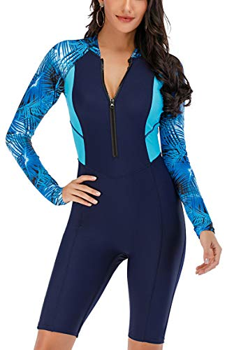 LafyKoly Women's One Piece Surfing Swimsuit Long Sleeve Rash Guard Boyleg Athletic Swimwear Bathing Suit (X-Large, Navy Blue&Floral)